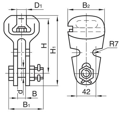 Ушки однолапчатые У2-7-16, У2-12-16 предназначены для соединения стержня подвесного изолятора или серьги с другой...